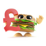 3d Burger holds UK Pounds Sterling symbol Stock Photography