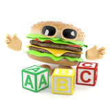 3d Burger learns his alphabet. 3d render of a beefburger with alphabet blocks Royalty Free Stock Image