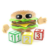3d Burger learns to count. 3d render of a beefburger with numerical counting blocks Royalty Free Stock Image
