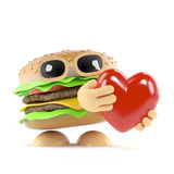 3d Burger love. 3d render of a burger holding a red heart Royalty Free Stock Photo