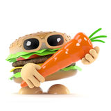 3d Burger loves carrots. 3d render of a beefburger holding a carrot Stock Photo