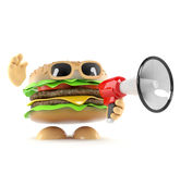 3d Burger megaphone. 3d render of a burger talking through a loudhailer Stock Image