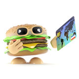 3d Burger pays with a debit card. 3d render of a beefburger holding a debit card Royalty Free Stock Images