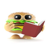 3d Burger reads a good book. 3d render of a beefburger reading a book Royalty Free Stock Images