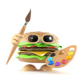 3d Burger ready to paint a picture. 3d render of a beefburger with a paint brush and palette Stock Images