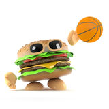 3d Burger shoots a basketball. 3d render of a beefburger throwing a basketball Royalty Free Stock Image