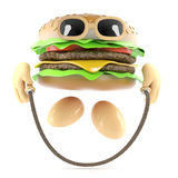 3d Burger skipping. 3d render of a burger skipping Stock Images