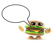 3d Burger speaks. 3d render of a burger with a speech bubble Royalty Free Stock Photos