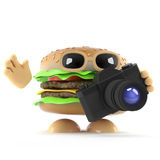 3d Burger takes a photo with his camera. 3d render of a beefburger holding an SLR camera Royalty Free Stock Photography