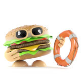 3d Burger to the rescue Stock Photography