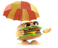 3d Burger under an umbrella Stock Photo