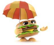 3d Burger under an umbrella. 3d render of a beefburger hilding an open umbrella Stock Photo