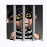 3d Burglar behind bars Stock Image