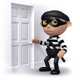 3d Burglar breaks in. 3d render of a burglar at a front door Stock Images