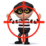 3d Burglar in the crosshairs. 3d render of a burglar being targeted Stock Photo
