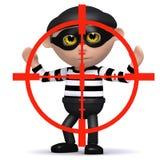3d Burglar in the crosshairs Stock Photo