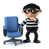 3d Burglar finds an empty office chair. 3d render of a burglar standing next to an empty office chair Royalty Free Stock Images