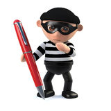 3d Burglar forges a signature with a red pen Stock Photos