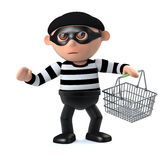 3d Burglar goes shoplifting with shopping basket. 3d render of a burglar carrying a shopping basket Stock Photo