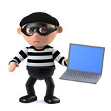 3d Burglar hacks a laptop computer. 3d render of a burglar holding a laptop pc Royalty Free Stock Photography