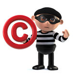 3d Burglar has copyright. 3d render of a burglar holding a copyright symbol Royalty Free Stock Photo