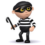 3d Burglar has a crowbar Royalty Free Stock Photo
