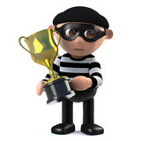 3d Burglar has the gold cup trophy award. 3d render of a burglar holding a gold cup trophy award Royalty Free Stock Photo
