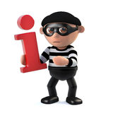 3d Burglar has information. 3d render of a burglar cartoon character holding an information symbol Royalty Free Stock Photography