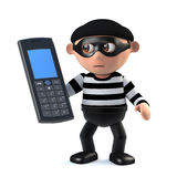 3d Burglar has stolen a cellphone. 3d render of a burglar character holding a cellphone Stock Photo