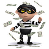 3d Burglar hits the jackpot. 3d render of a burglar  in a cloud of money Stock Images