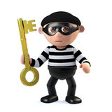 3d Burglar holds the key. 3d render of a burglar cartoon character holding a gold key Royalty Free Stock Photography