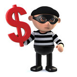 3d Burglar holds a US Dollar currency symbol. 3d render of a burglar holding a US Dollar symbol Stock Photos