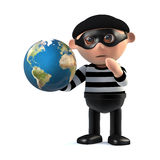 3d Burglar holds the world in his hands. 3d render of a burglar holding a globe of the Earth in his hands Stock Images