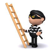 3d Burglar with ladder. 3d render of a burglar about to climb a ladder Stock Photo