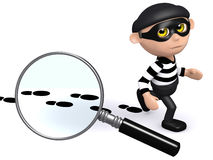 3d Burglar leaves a trail of evidence. 3d render of a burglar leaving footsteps behind Royalty Free Stock Images