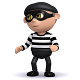 3d Burglar on the look out. 3d render of a burglar Royalty Free Stock Photography