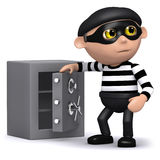 3d Burglar opens the safe. 3d render of a burglar opening a safe Royalty Free Stock Image