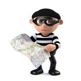 3d Burglar plans his getaway. 3d render of a burglar holding a map Royalty Free Stock Images