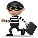 3d Burglar runs off with briefcase. 3d render of a burglar carrying someones briefcase Stock Photo