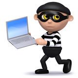 3d Burglar runs off with a laptop. 3d render of a burglar running with a laptop Stock Photos