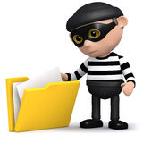 3d Burglar steals some files. 3d render of a burglar taking some papers out of a folder Royalty Free Stock Photo