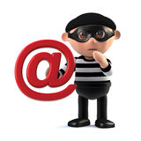 3d Burglar steals someones email address. 3d render of a burglar cartoon character holding an email address symbol Stock Image