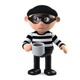 3d Burglar takes a coffee break. 3d render of a burglar holding a mug of coffee Stock Photos
