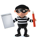 3d Burglar takes notes. 3d render of a burglar holding a notepad and pencil Stock Images