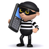 3d Burglar talks on a mobile phone Royalty Free Stock Image