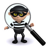 3d Burglar under the magnifying glass. 3d render of a burglar under a magnifying glass Stock Images