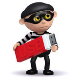 3d Burglar with USB. 3d render of a burglar holding a USB memory stick Stock Photography