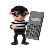 3d Burglar using a calculator. 3d render of a burglar character with a calculator Stock Images