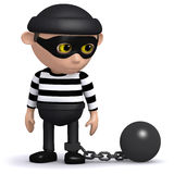 3d Burlgar gets caught. 3d render of a burglar wearing a ball and chain Stock Image
