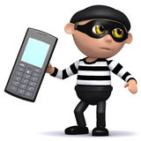 3d Burlgar steals a mobile phone. 3d render of a burglar taking a mobile phone Royalty Free Stock Image